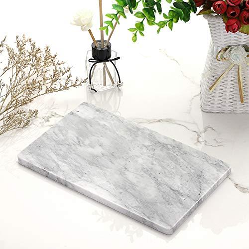 SUMTREE Serviertablett aus Marmor,Servierplatte,Tablett für Couchtisch,Wohnzimmer,Küche,und Käseplatte oder Frühstückstablett(Rechteck,Grau)