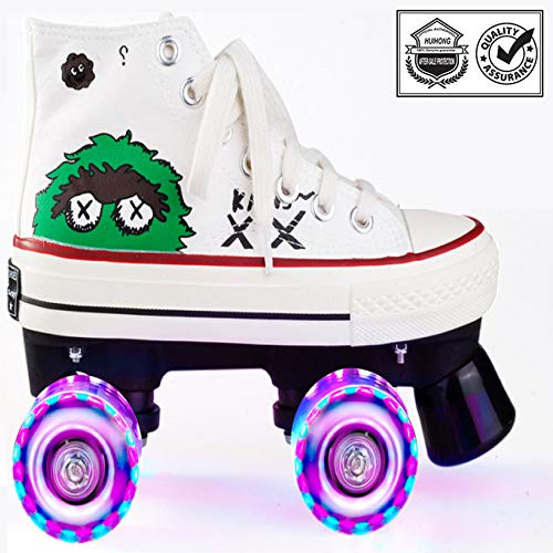 PLMOKN Rollschuhe Madchen Verstellbar Kinder LED Leuchtende Schuhe, 2-in-1-mehrzweckschuhe, Verstellbare Quad-rollschuh-Stiefel,White-flash-38