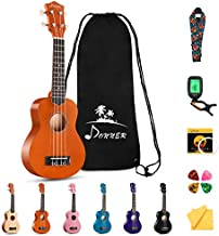 Donner DUS-10M Soprano Ukulele Ukelele Beginner Kit for Kids Students 21 Inch Rainbow with Bag, Strap,Strings, Tuner, Picks, Polishing Cloth, Mahogany Color
