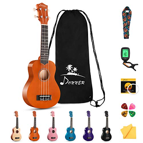 Donner Soprano Ukulele Beginner Kit for Kid Adult Student with Online Lesson 21 Inch Ukelele Bundle...
