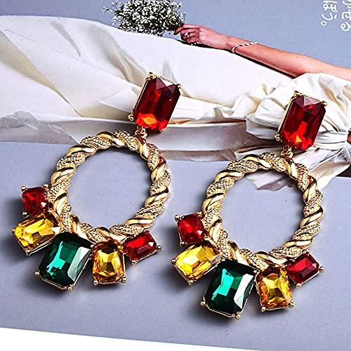YSJJBTS aretes Pendientes de Gota de Cristal Accesorios de joyería Mujeres (Metal Color : Multicolor)