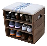 LIZA LINE Shoe Rack (Walnut Brown) - Premium Wooden Shoes Organizer, Storage, Cabinet, Holder Bench with Soft Seat Cushion for Entryway, Hallway. Solid Nordic Wood. 17 x 20 x 21 inch (Blue Stripes)
