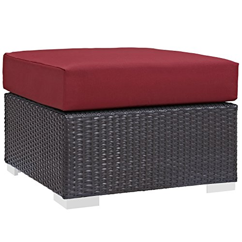 Modway EEI-1911-EXP-RED Convene Patio Fabric Square Ottoman Outdoor Furniture, Espresso Red