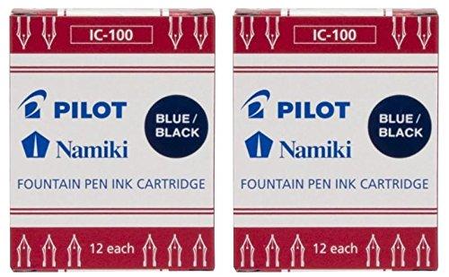 Pilot Namiki IC100 Cartucho de tinta para pluma estilográfica, azul/negro, 12 cartuchos por paquete (2 unidades)