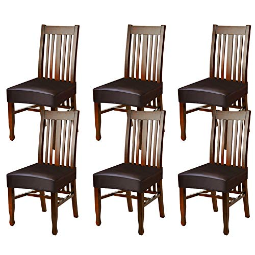 Fuloon Dining Chair Covers,Solid Pu Leather Waterproof and Oilproof Stretch Dining Chair Protctor Cover Slipcover (Coffee, 6 Sets)