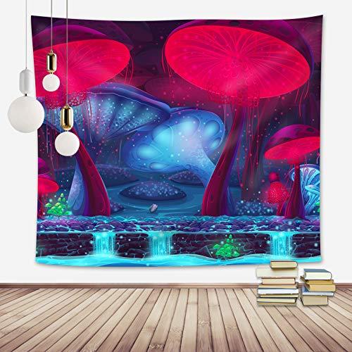 AOTEHU Tapiz de pared con diseño de árbol de la vida y cascada con hadas y árboles antiguos, psicodélicos, decoración de pared para dormitorio, salón o dormitorio (130 x 150 cm)