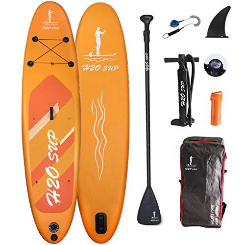 H2OSUP Tavola da SUP, Stand Up Paddle Board Gonfiabile, ISUP Tavola da Surf con Pompa ad Aria, Pagaia Regolabile, Linea di Sicurezza, 320×76×15cm