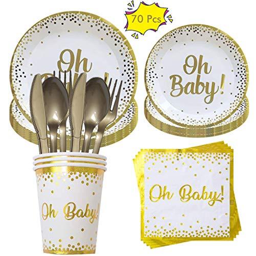 Amycute Juego de accesorios de fiesta para bebé, juego de vajilla de fiesta con platos, tazas, servilletas, cubiertos, utensilios, servido para 10 invitados, 70 unidades