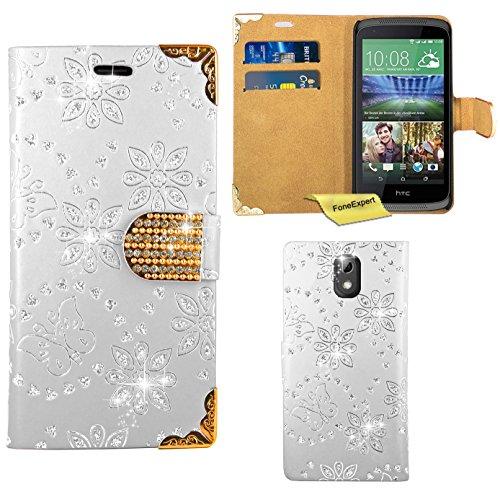 HTC Desire 526G Handy Tasche, FoneExpert® Bling Luxus Diamant Hülle Wallet Hülle Cover Hüllen Etui Ledertasche Premium Lederhülle Schutzhülle für HTC Desire 526G (Weiß)