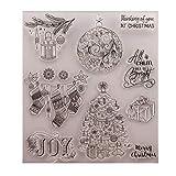 Baiyao - Sello transparente para regalo de Navidad, estampado de silicona, plantilla transparente para manualidades, álbumes, tarjetas, álbumes de recortes, decoración de manualidades, Navidad
