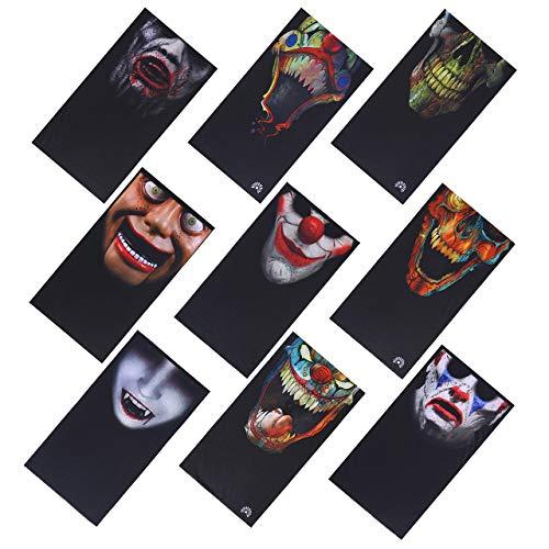 ACBungji 9 Stück Multifunktionstuch Gesichtsmaske Motorradmaske Sturmmaske Maske für Motorrad Ski Snowboard Snowboard Paintball Fahrrad Bergsteigen Trekking Skateboarden Angeln Skull Clown