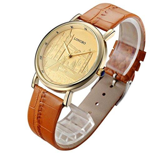 Longbo lusso del quarzo modo casuale in pelle orologi uomini donne paio orologio sportivo da polso 80035 , 4