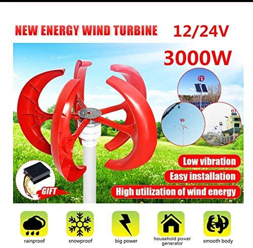 YUYUKUAILAI 3000W 5 Blades Vertikale Windkraftanlagen Generator Laterne 12V 24V Motor Kit Elektromagnetische für Heim Hybrid Straßenbeleuchtung Gebrauch, 12V,24V