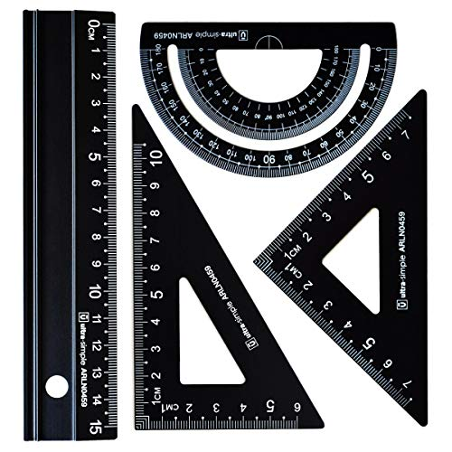 4 pc Metal Triangular Scale Ruler Set - Architectural Scale Ruler Set, Math Geometry Tool, Protractor, Triangular, Ruler Set for Student (Black)