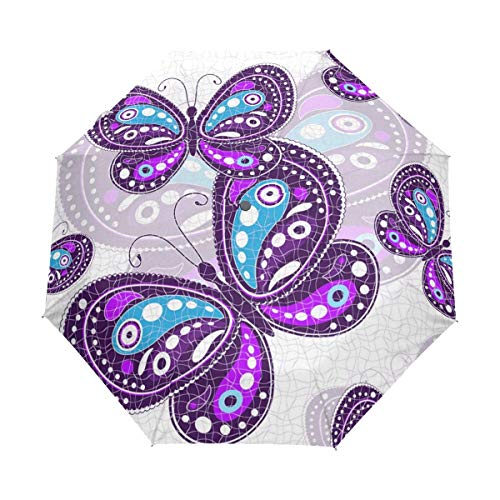 Lila Heller Schmetterlingsschirm Winddichter automatischer Faltbarer Regenschirm Auto Open Close für Männer Frauen Kinder
