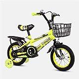 DDXY-14 16 18 Pulgadas Bicicleta para Niños y Niñas A Partir de 3 Años con Ruedas de Entrenamiento,Freno de Mano y Freno de Montaña,Amarillo,12 Inch