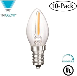 TriGlow T95093-10 (10-Pack) LED 0.5 Watt (7W Replacement) DIMMABLE 2700K (Warm White Color) E12 Candelabra Base Clear Filament Night Light Bulb, UL Listed