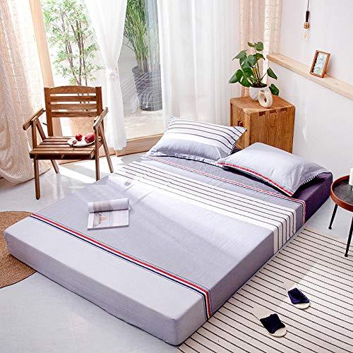 Baumwolle Matratzen Spannbettlaken 180x200 cm, Topperbettlaken Mit Graues und weißes Muster Jersey-Stretch Spannbetttuch, nach Öko-Tex Standard 100