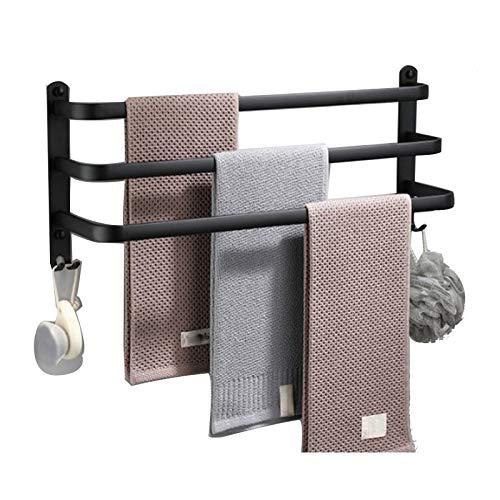 GJXJY Toallero de Baño Pared, 30-80cm Colgador Toalla baño con Ganchos, 3 Niveles Toallero Escalera de Aluminio a Prueba de óxido, Ahorro de Espacio para la Cocina, Hotel