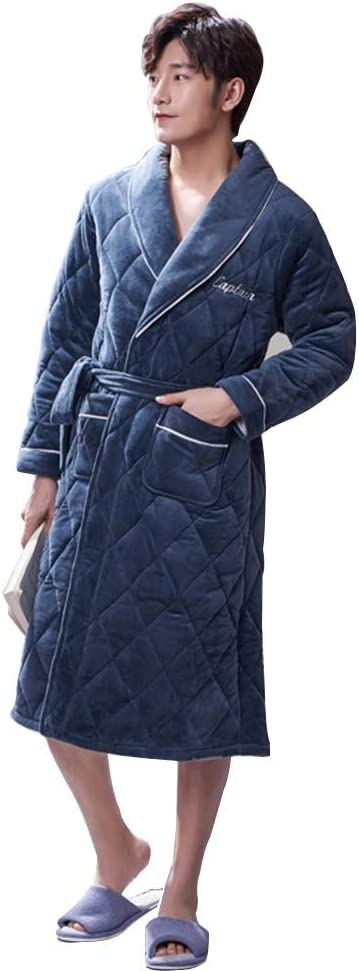 Winter Men's Coral Fleece Flannel Soft Warm Bathrobe Youth Thickening one Long Sleeve Bathrobe Simple Casual Home Clothing (Color : Blue, Size : XXL)