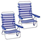 Pack de 2 sillas de Playa Convertibles en Cama de Aluminio y textileno (Azul Marino)