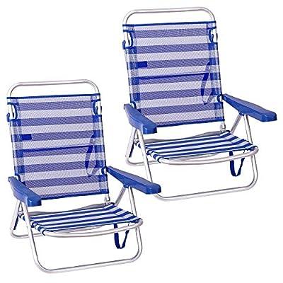 Pack de 2 sillas de playa con asiento bajo, reclinables y plegables de 61x47x80 cm, aptas para uso exterior doméstico, ligeras, transportables y lavables. Respaldo reclinable de 4 posiciones para mayor confort. Estructura de 3 pies, se convierte en c...