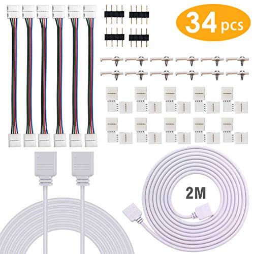 Tira de luces LED Conector, incluye Ángulo recto Conectores, 2 metros ligero Cable de extensión, 10mm Puentes de tira, 4 Pin Masculino Conectores, Accesorios para Bricolaje 5050 RGB Ligero (34 piezas)