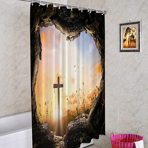 Batmerry Stone Sunrise Christian Decorative Shower Curtain, Jesus is Risen Christian Easter Shower Curtain Cute Long Wide Shower Curtain for Bathroom Farmhouse Bathtub Waterproof Washable