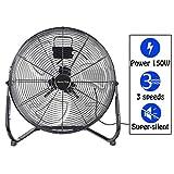 Display4top 50cm Nero 3 Velocità Ventilatore da Pavimento ideale per palestre, case, uffici o magazzini e uso industriale,150W