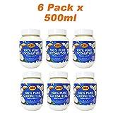 KTC Aceite de Coco 100% Puro de 500 ml - Variedad de Usos: Cocina y Curry Indio, Cabello, Hidratante Facial y Corporal - Paquete de 6