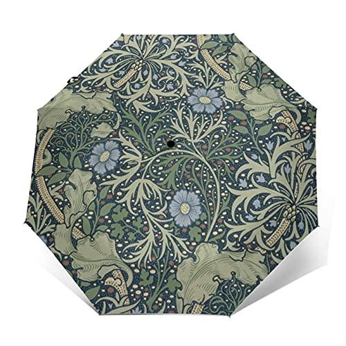 折りたたみ傘 ウィリアム・モリス花模様の日傘 遮光 紫外線遮蔽率99% 超耐風撥水 梅雨対策 携帯しやすい晴雨兼用