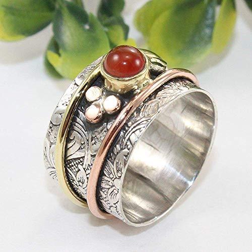 Anillos de plata de banda ancha para mujer,Meditation Ring, Spinner Ring, Coral Ring, Anxiety Ring, Worry Ring, Handmade Ring, Boho Ring, Statement Ring, Thumb Ring