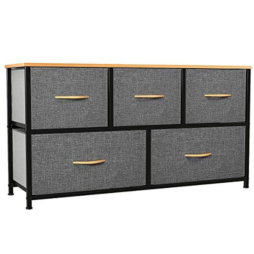 YITAHOME Dresser with 5 Drawers - Fabric Storage Tower Organizer Unit for Bedroom Living Room Closets Nursery - Sturdy Steel Frame Wooden Top 5 Wider Drawers Cool Grey