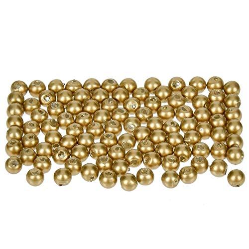 efco–Wachs Perlen, Kunststoff, Gold matt, 4mm Durchmesser, 100Stück