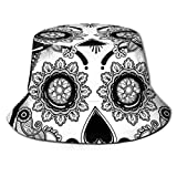 LLALUA Unisex Summer Fisherman Cap,Holiday Sugar Skull Print with Floral Mandala Spanish Folk Artwork,Travel Beach Outdoor Sun Hat