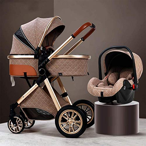 3 In 1 Stroller Carriage With Oversized Canopy/Easy One-Hand Fold,Foldable Baby Stroller Anti-Shock Springs High View Pram Baby Stroller With Baby Basket (Color : Gray),Colour:Khaki ( Color : Khaki )
