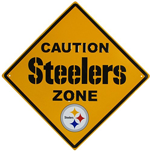 NFL Siskiyou Sports Fan Shop Pittsburgh Steelers Caution Wall Sign Plaque 14 inch Team Color