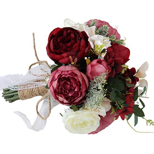 Ramo de novia de dama de honor, ramo de flores artificiales, estilo rústico vintage, cinta de encaje, cuerda de lino, lazo, decoración de fiesta, WP, tamaño único