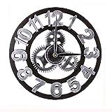 Mengshen Reloj De Pared Decorativo Retro De Gran Tamaño - De Madera Y Silencioso (Plateado, 19.7 Pulgadas, Números árabes)