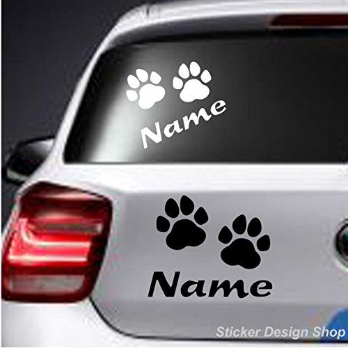 Sticker Design Shop Hunde Katze Pfoten mit Wunschname Autoaufkleber Stiker Auto Namen Aufkleber