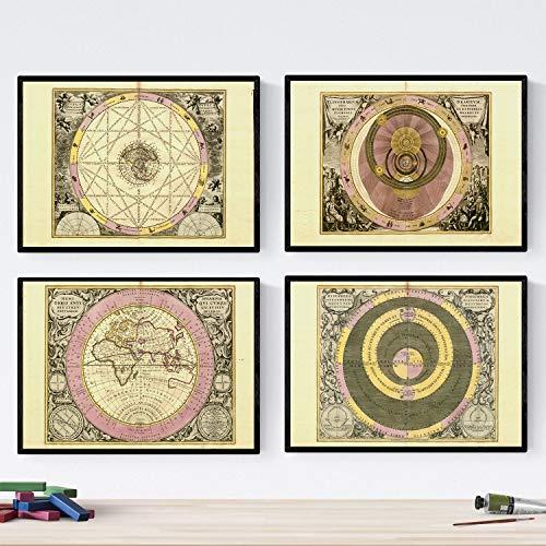 Set van vier platen met oude astronomische kaarten. Poster astrologische kaarten in A3-formaat