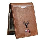MING CLAN Billetera minimalista delgada con bolsillo frontal para hombres con clip de dinero RFID para bloqueo de carteras de cuero para hombre - Marrón - Small