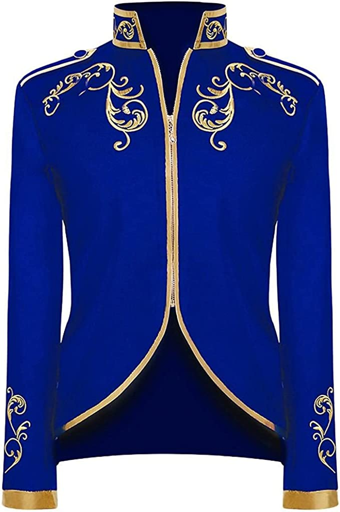Men Vintage Tailcoat Jacket Suit Winter Warm Long Sleeve Embroidery Outwear Gothic Victorian Frock Coat