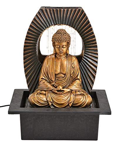 Wurm Zimmerbrunnen Buddha mit Beleuchtung aus Poly Schwarz Gold (B/H/T) 25x32x20cm