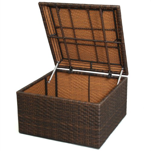 Christopher Knight Home 230308 Kingston Outdoor Wicker Square Storage Ottoman, Brown