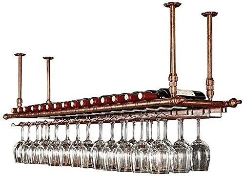 Estante de Vino montado en la Pared, Soporte de Botellas de Vidrio de Metal, Estante de Almacenamiento de rústicos exhibición para Debajo del gabinete, Cocina, Bar, Altura y Ancho Ajustables