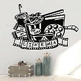 Cine Teatro Logo Signo Tira de película Showtime Cinta de película Palomitas de maíz Bebida Etiqueta de la pared Vinilo Arte Calcomanía Dormitorio Sala de estar Estudio Club Decoración para el ho
