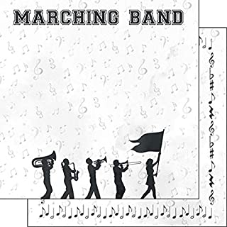 Scrapbook Customs 39367 Marching Band Watercolor 12 Inch x 12 Inch Double-Sided Scrapbook Paper - 1 Sheet
