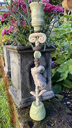 Keramik Kerzenständer, Kerzenhalter, Insektentränke, Steinzeug, Treibholz, getöpfert