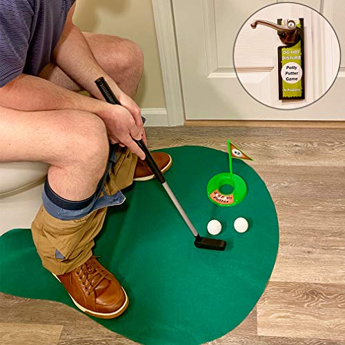 Evelots Toilet/Bathroom Golf Putting Game/Practice-Whole Family Gift-6 Piece Set